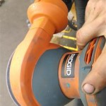 This Ridgid R2601 is very versatile. I used it for finish-sanding the top coat primer (220 grit), but I also used it to grind away fiberglass during a hull repair (using 80 grit).