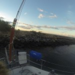We tied stern-to on a pylon at Haneololo.