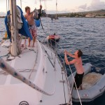 10 minute ordeal to deploy the dinghy in Lahaina.