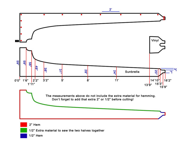 Sail Cover Dimensions: This schematic fits my new full-battened main sail perfectly.